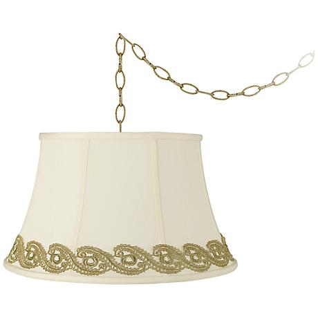 """Creme Bell with Vine Lace Trim 19""""W Brass Swag Chandelier"""
