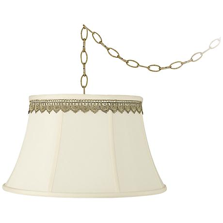 """Creme Bell and Scallop Lace Trim 19""""W Brass Swag Chandelier"""