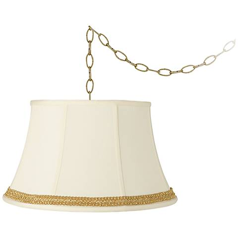 """Creme Bell and Ribbon Scroll Trim 19""""W\ Swag Chandelier"""