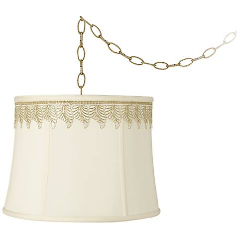 "Creme Drum and Embroidered Leaf Trim 16""W Swag Chandelier"