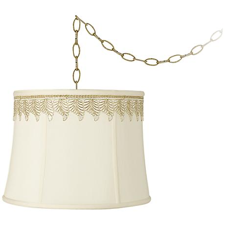 """Creme Drum and Embroidered Leaf Trim 16""""W Swag Chandelier"""