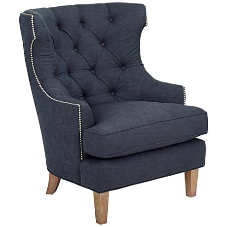 Reese Studio Indigo High-Back Accent Chair