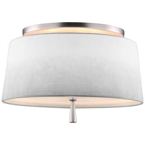 "Feiss Tori 14"" Wide Satin Nickel Ceiling Light"