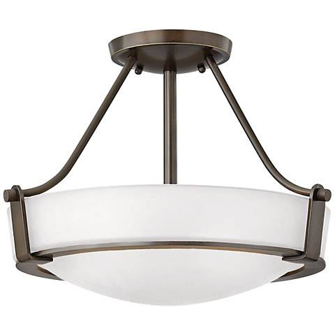 "Hinkley Hathaway 16""W Olde Bronze Etched Ceiling Light"