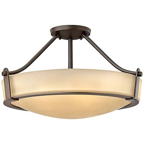 "Hinkley Hathaway 20 3/4""W Olde Bronze Amber Ceiling Light"