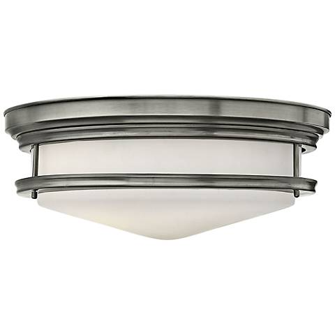 "Hinkley Hadley 20"" Wide Antique Nickel Opal Ceiling Light"