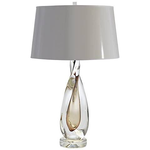 Amber Twisted Art Glass Table Lamp