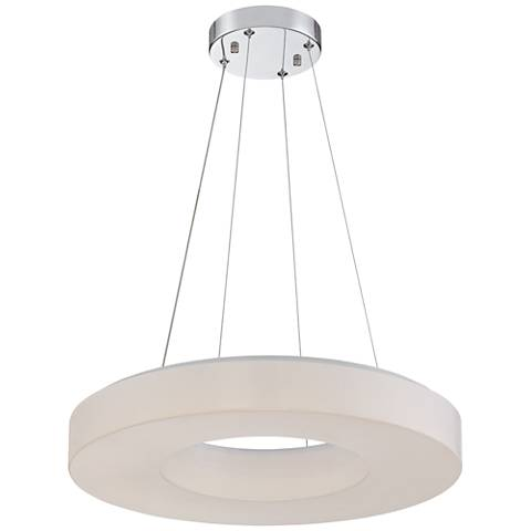 "Perimeter Chrome 19"" Wide White Ring LED Pendant Light"