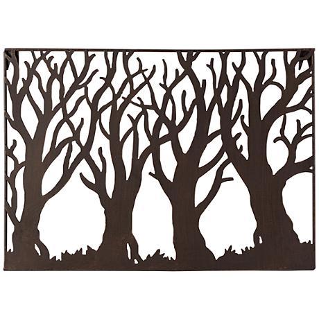 Tree silhouette 19 1 4 wide metal wall art 8g571 for Silhouette wall art
