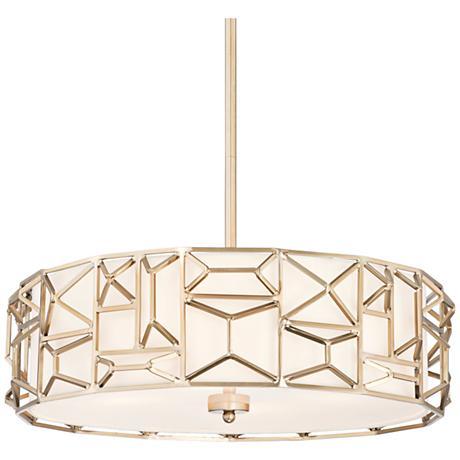 "Geo Facet 23 3/4"" Wide Satin Brass Art Deco Pendant"