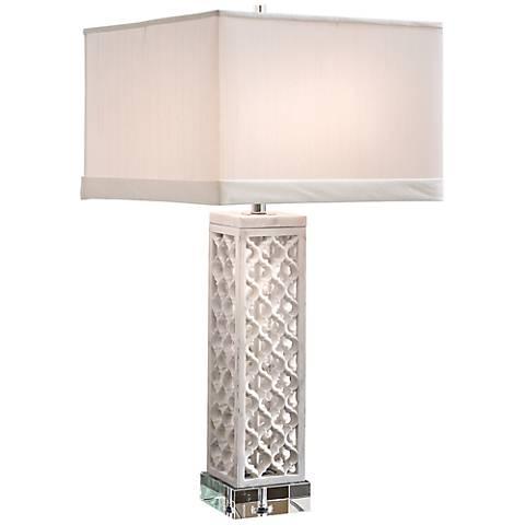 Square Arabesque White Marble Table Lamp