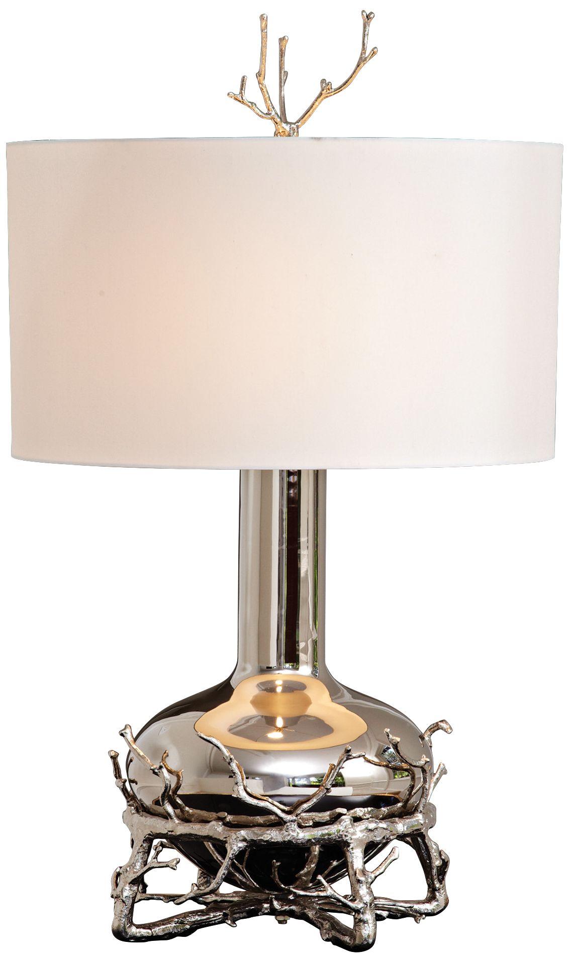 Contemporary Fat Nickel Twig Table Lamp