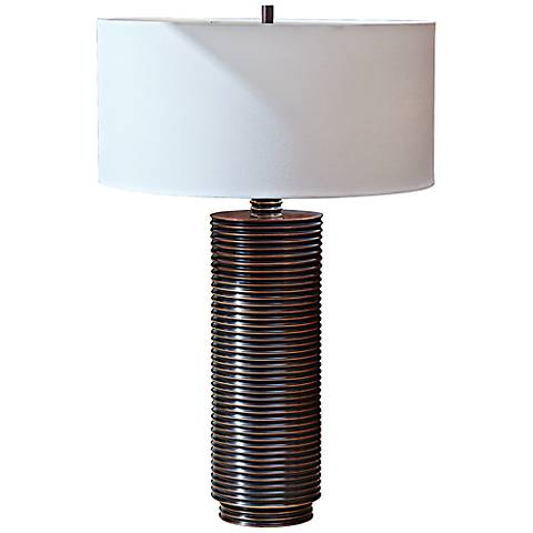 Ribbed Copper Plating Table Lamp