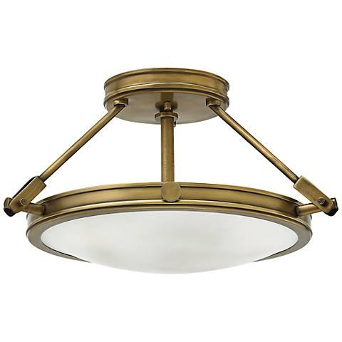 "Hinkley Collier 16 1/2"" High Heritage Brass Ceiling Light"