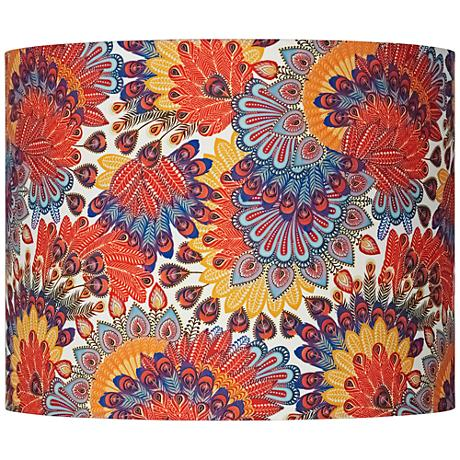 Red Indian Calico Hardback Drum Shade 14x14x11 (Spider)