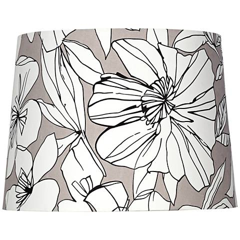 White Flower on Taupe Hardback Lamp Shade 13x15x11 (Spider)