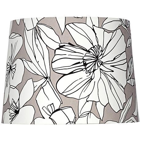 White Flower on Taupe Hardback Lamp Shade 13x15x11 (Spider)