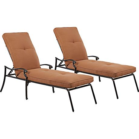 Lowell Bay Bronze Outdoor Chaise Set of 2