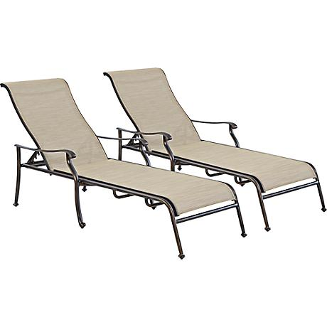 Verona bronze outdoor chaise set of 2 8g839 lamps plus for Bronze chaise lounge
