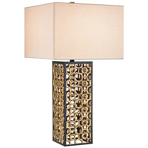 Currey and Company Cusco Rectangular Gold Leaf Table Lamp