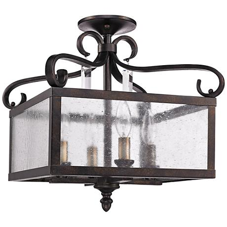 """Valencia 13 1/2""""W Fired Bronze Convertible Ceiling Light"""