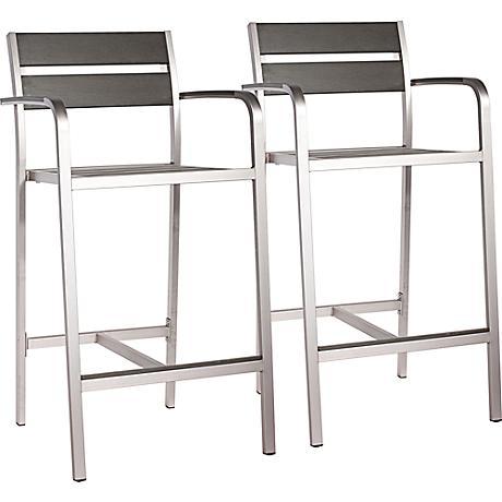 "Zuo Megapolis 29"" Outdoor Aluminum Bar Armchair"