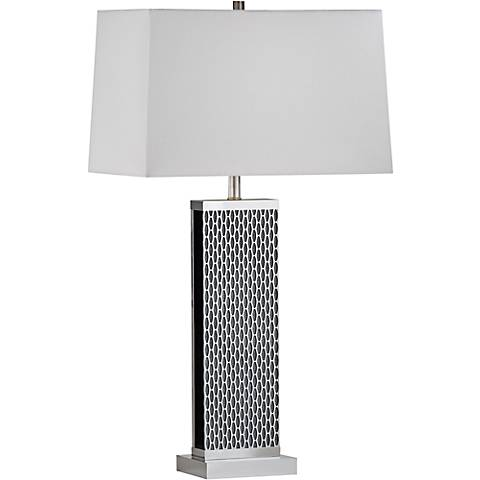 Nova Linx Sparkling Silver Steel White Linen Table Lamp