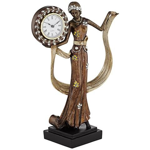 "Delphine Bronze 13 3/4"" High Tabletop Clock"