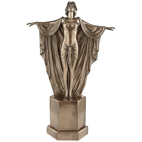 "Female Dancer in Flowing Gown 18 1/4""H Decorative Statue"