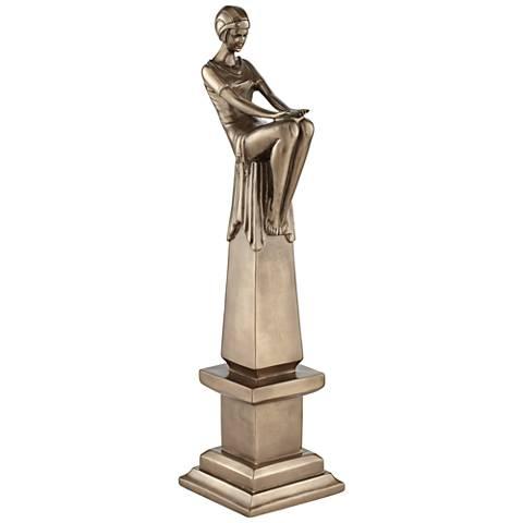 "Bronze Seated Art Deco Lady 17 3/4""H Decorative Statue"