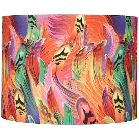 Multi-Colored Feather Print Drum Shade 15x15x11 (Spider)