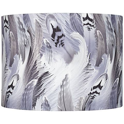 Gray and Black Feather Print Drum Shade 15x15x11 (Spider)