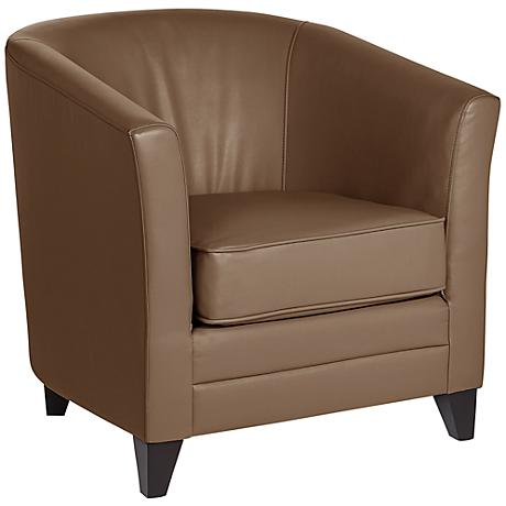 Chasen Taupe Bonded Leather Club Chair