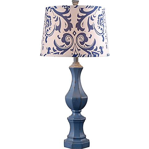Kenroy Home Gianni Distressed Navy Blue Table Lamp