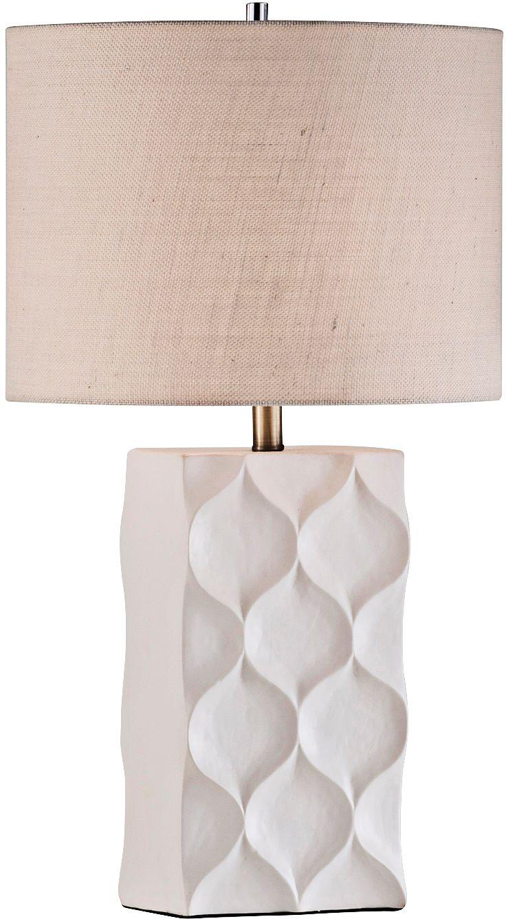 Nova Fleur Cream Burlap Textured White Ceramic Table Lamp