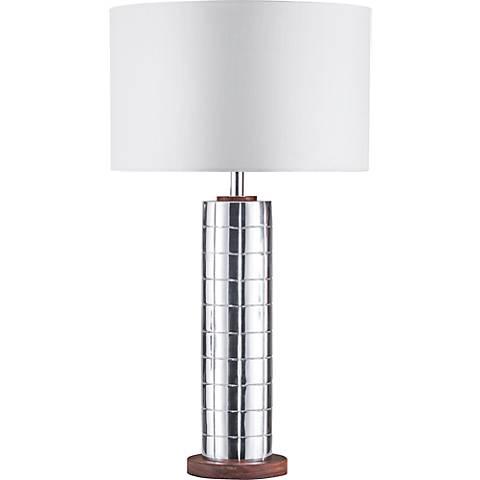 Nova Lattice Polished Aluminum Table Lamp