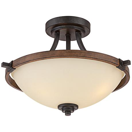 """Ranger 16"""" Wide Faux Wood and Bronze Ceiling Light"""