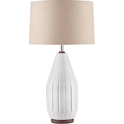 Nova Grooves Beige Twine Bone White Ceramic Table Lamp