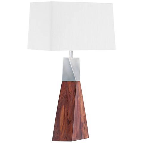 Nova Tower Two-Aluminum Caribbean Walnut Table Lamp