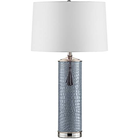 Nova Croc Gray Faux Leather Chrome Table Lamp
