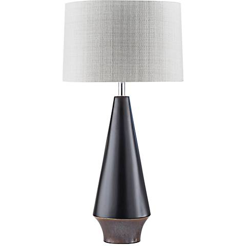 Nova Buoy Neo-Nautical Matte Black Ceramic Table Lamp