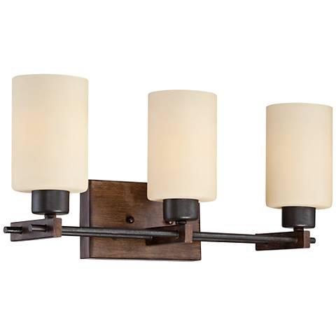 "Ranger 21"" Wide 3-Light Faux Wood and Bronze Bath Light"