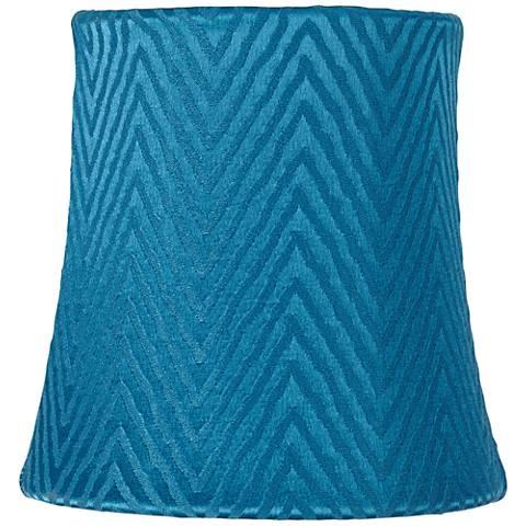 Teal Blue Zig Zag Lamp Shade 4x5x5 (Clip-On)