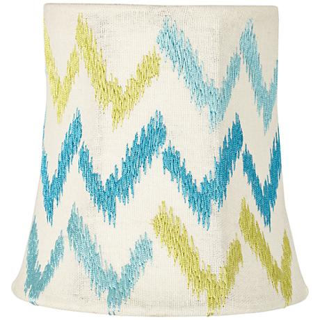 Embroidered Teal and Green Zig Zag Shade 4x5x5 (Clip-On)