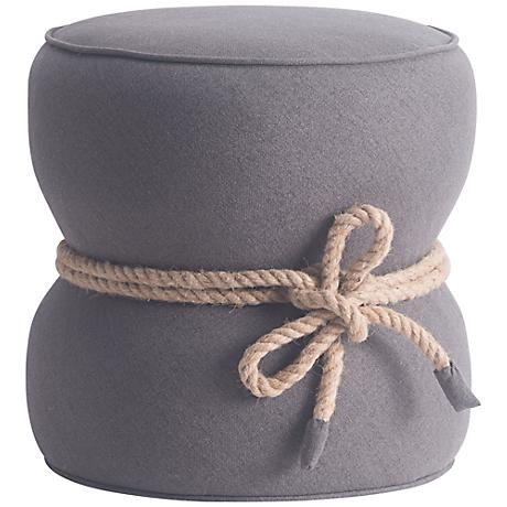 Zuo Tubby Cinched Hourglass Gray Felt Round Ottoman
