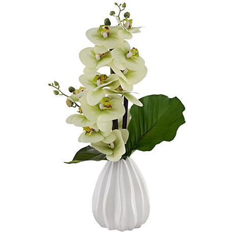 Faux Orchid Floral Arrangement in Ceramic Pot
