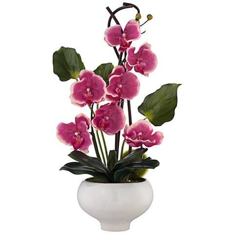 Fuchsia Orchid Faux Floral Arrangement in Ceramic Pot