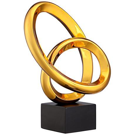 """Abstract Orbs 14"""" High Golden Orange Sculpture"""
