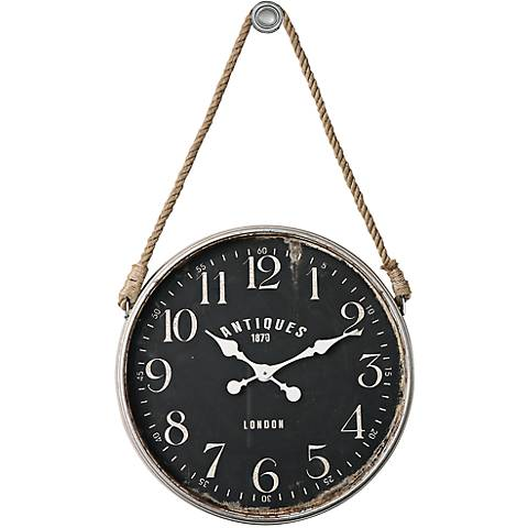 "Uttermost Bartram Antiqued Ivory 23 1/4"" Round Wall Clock"