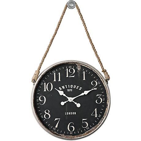 "Uttermost Bartram Antiqued Ivory 23 1/4"" Round Wall Clock"